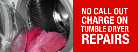 There's no call out charge on tumble dryer repairs in Nottinghamshire. We can repair Bosch, Hotpoint, Creda, Beko, Belling, AEG, Candy, Neff, Electrolux, Indesit